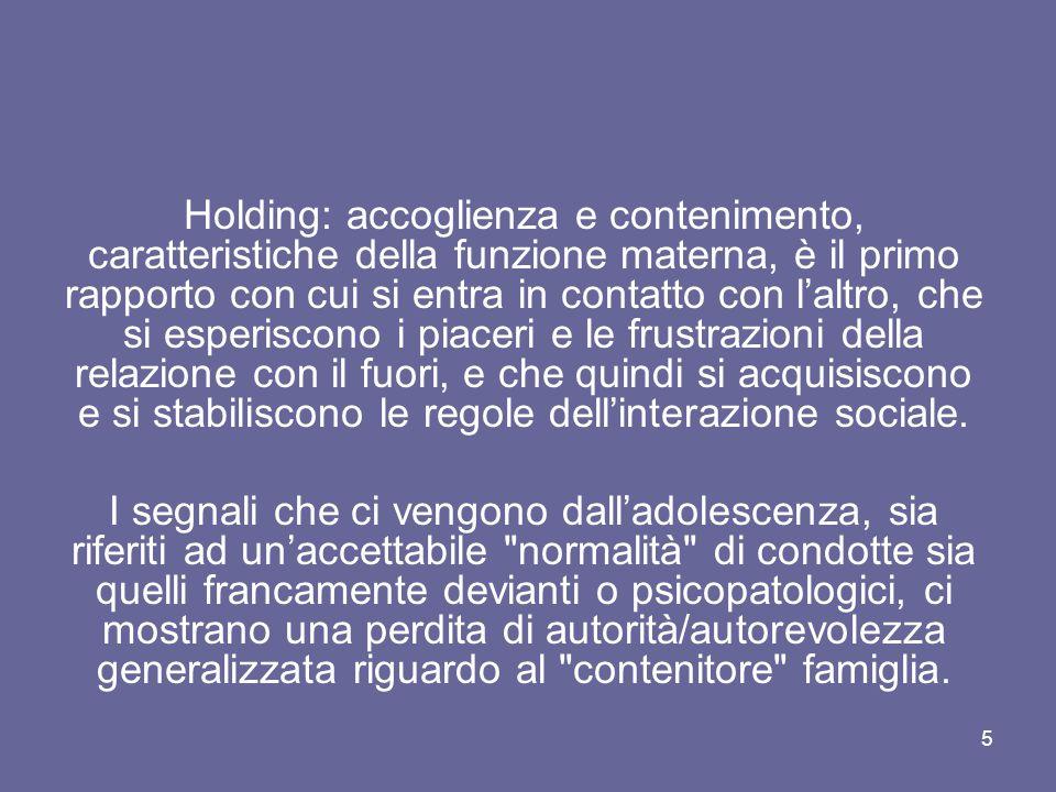 5 Holding: accoglienza e contenimento, caratteristiche della funzione materna, è il primo rapporto con cui si entra in contatto con l'altro, che si es