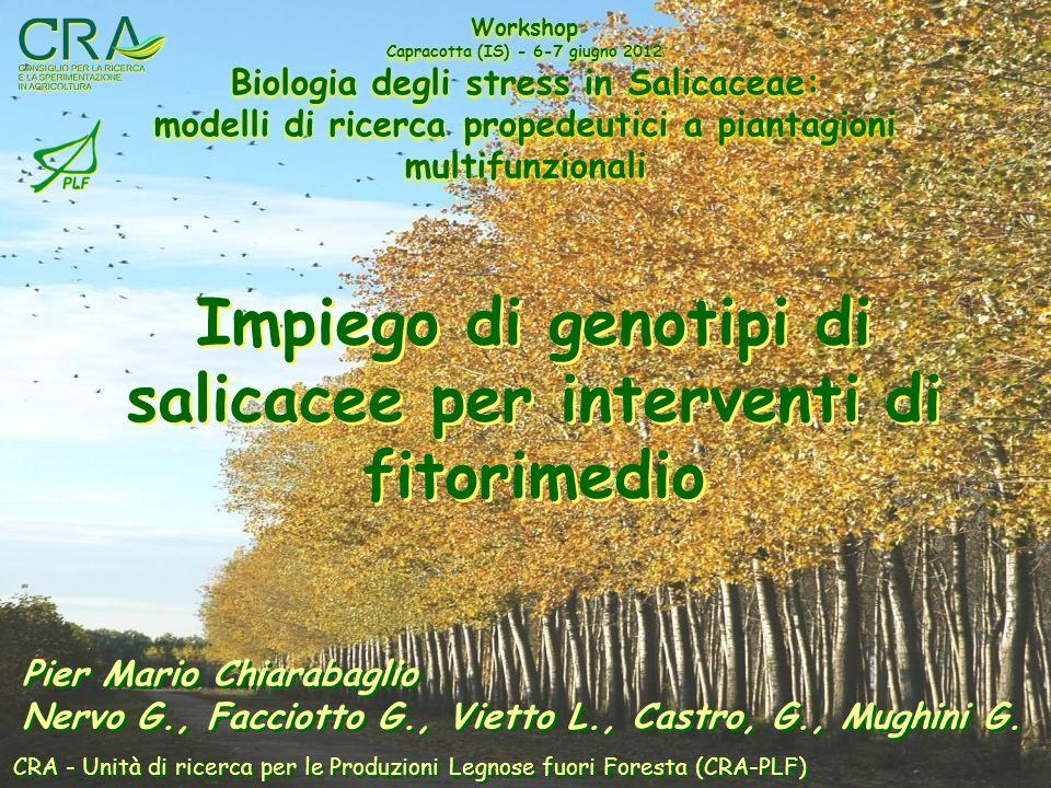 Unità di ricerca per le produzioni legnose fuori foresta Strumentazione CRA-PLF