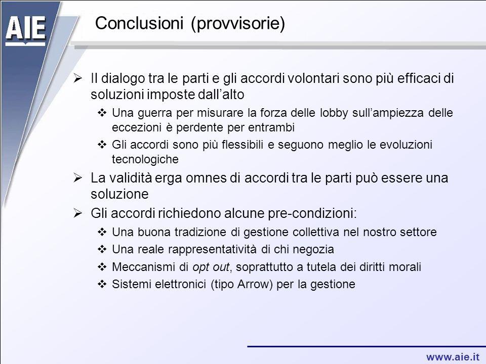 www.aie.it Conclusioni (provvisorie)  Il dialogo tra le parti e gli accordi volontari sono più efficaci di soluzioni imposte dall'alto  Una guerra p