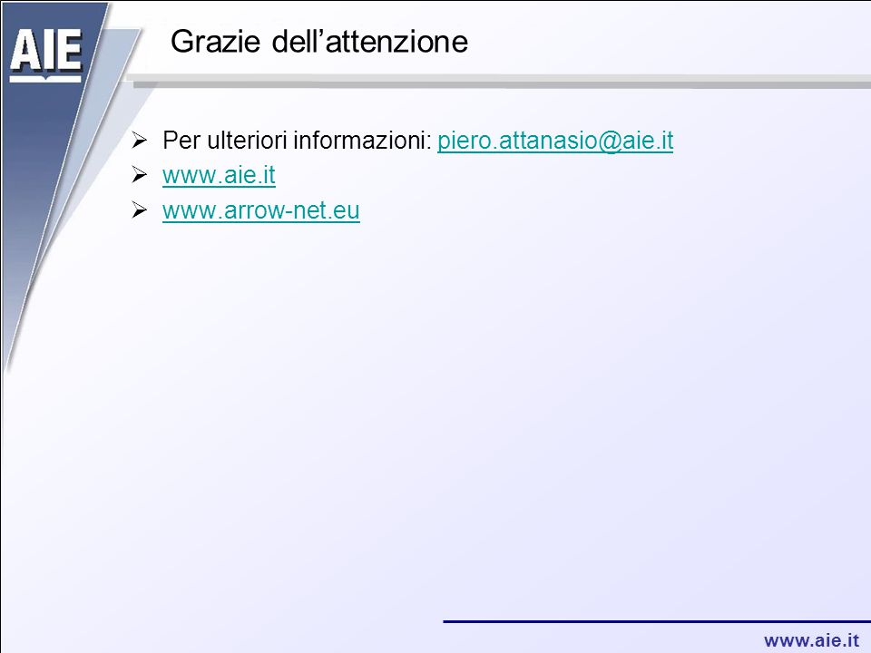 www.aie.it Grazie dell'attenzione  Per ulteriori informazioni: piero.attanasio@aie.itpiero.attanasio@aie.it  www.aie.it www.aie.it  www.arrow-net.eu www.arrow-net.eu