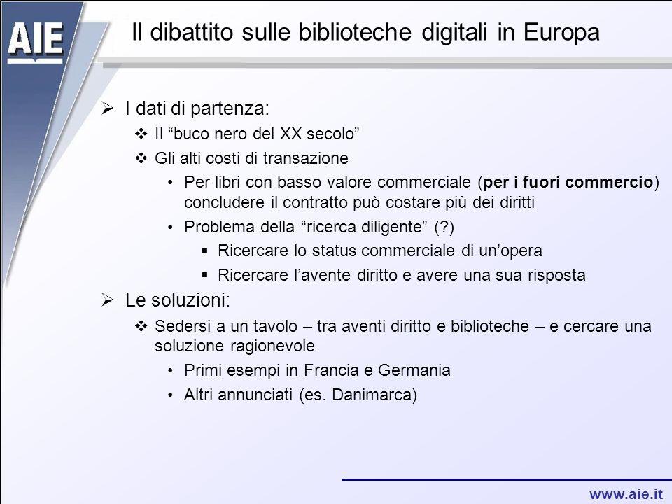 """www.aie.it Il dibattito sulle biblioteche digitali in Europa  I dati di partenza:  Il """"buco nero del XX secolo""""  Gli alti costi di transazione Per"""