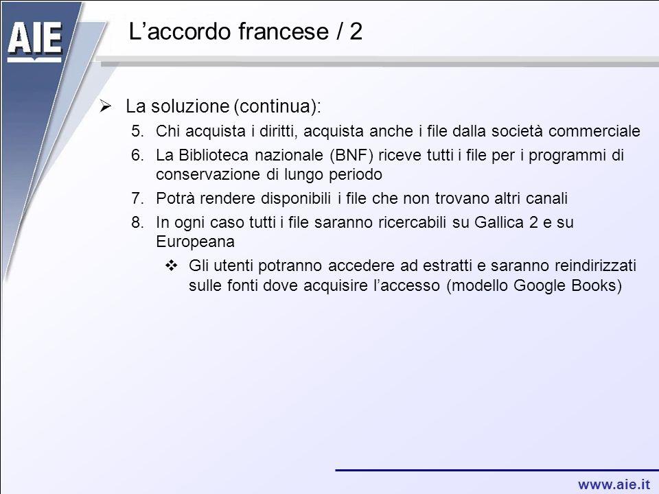 www.aie.it L'accordo francese / 2  La soluzione (continua): 5.Chi acquista i diritti, acquista anche i file dalla società commerciale 6.La Biblioteca