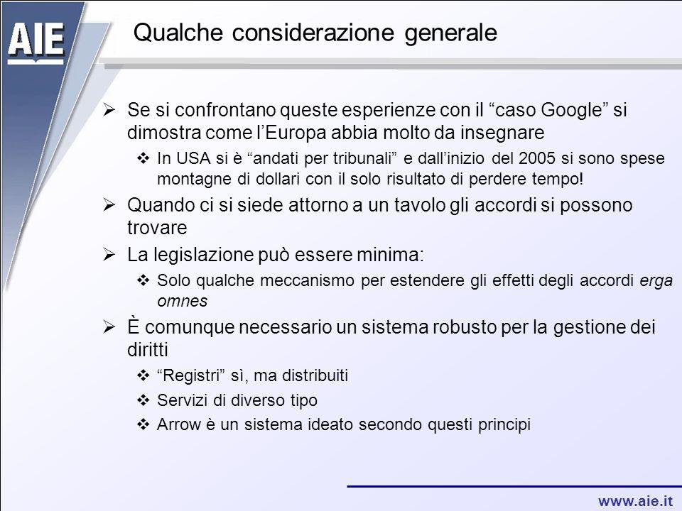 """www.aie.it Qualche considerazione generale  Se si confrontano queste esperienze con il """"caso Google"""" si dimostra come l'Europa abbia molto da insegna"""