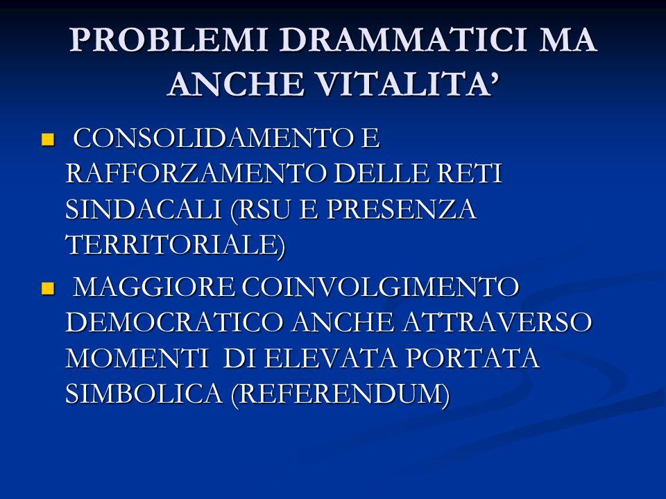 PROBLEMI DRAMMATICI MA ANCHE VITALITA' CONSOLIDAMENTO E RAFFORZAMENTO DELLE RETI SINDACALI (RSU E PRESENZA TERRITORIALE) CONSOLIDAMENTO E RAFFORZAMENTO DELLE RETI SINDACALI (RSU E PRESENZA TERRITORIALE) MAGGIORE COINVOLGIMENTO DEMOCRATICO ANCHE ATTRAVERSO MOMENTI DI ELEVATA PORTATA SIMBOLICA (REFERENDUM) MAGGIORE COINVOLGIMENTO DEMOCRATICO ANCHE ATTRAVERSO MOMENTI DI ELEVATA PORTATA SIMBOLICA (REFERENDUM)