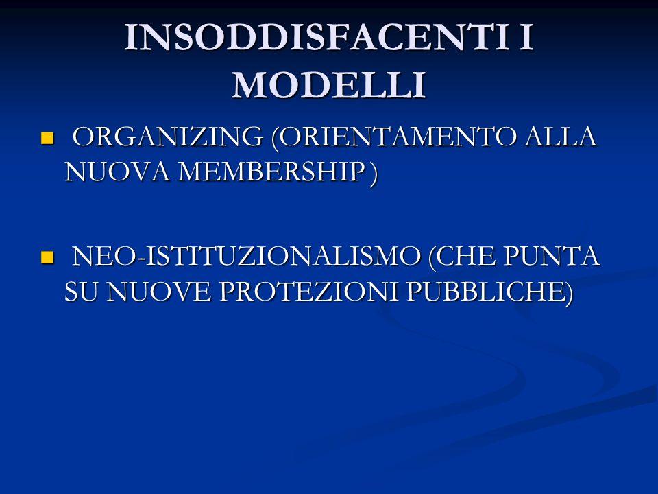 INSODDISFACENTI I MODELLI ORGANIZING (ORIENTAMENTO ALLA NUOVA MEMBERSHIP ) ORGANIZING (ORIENTAMENTO ALLA NUOVA MEMBERSHIP ) NEO-ISTITUZIONALISMO (CHE PUNTA SU NUOVE PROTEZIONI PUBBLICHE) NEO-ISTITUZIONALISMO (CHE PUNTA SU NUOVE PROTEZIONI PUBBLICHE)