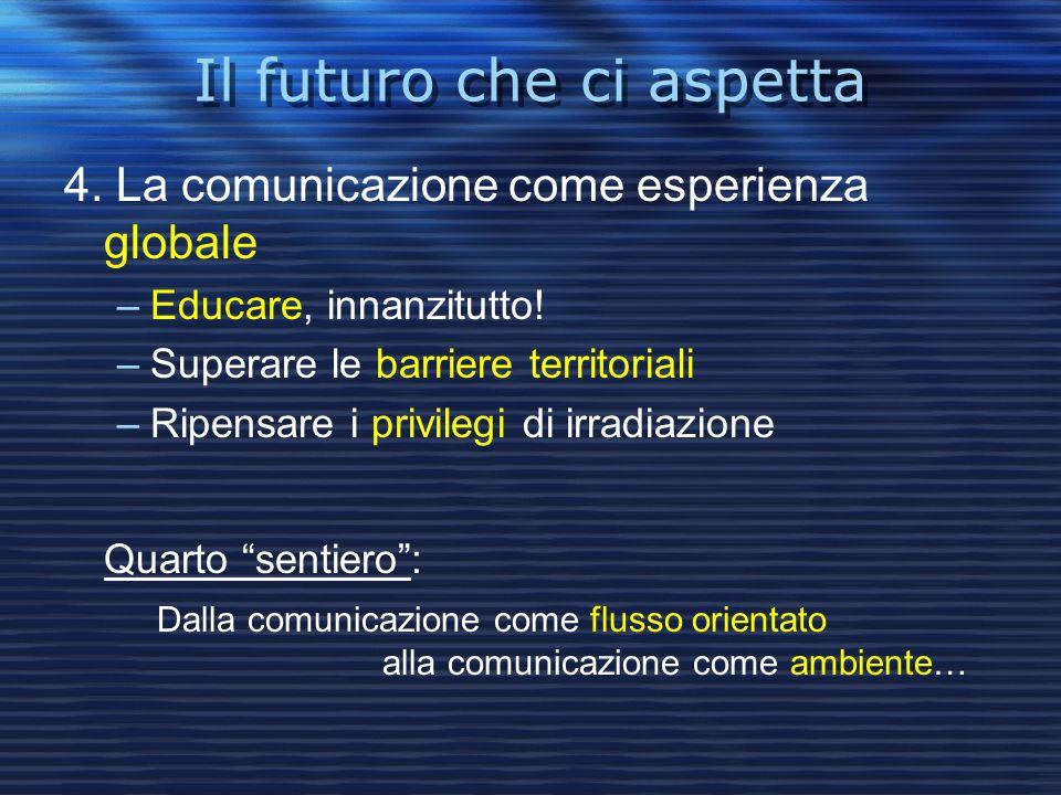 Il futuro che ci aspetta 4. La comunicazione come esperienza globale –Educare, innanzitutto! –Superare le barriere territoriali –Ripensare i privilegi