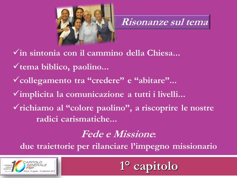 1° capitolo Risonanze sul tema in sintonia con il cammino della Chiesa...