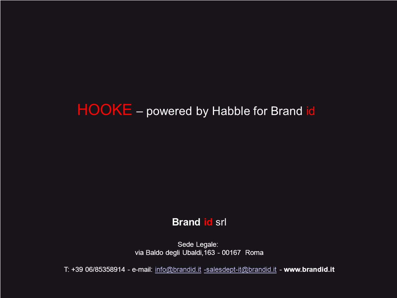 10 Brand id srl Sede Legale: via Baldo degli Ubaldi,163 - 00167 Roma T: +39 06/85358914 - e-mail: info@brandid.it -salesdept-it@brandid.it - www.brandid.itinfo@brandid.it-salesdept-it@brandid.it HOOKE – powered by Habble for Brand id