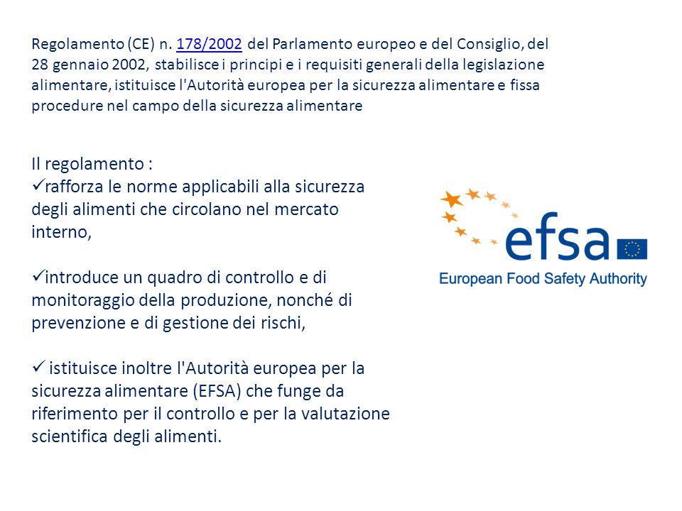Regolamento (CE) n. 178/2002 del Parlamento europeo e del Consiglio, del 28 gennaio 2002, stabilisce i principi e i requisiti generali della legislazi