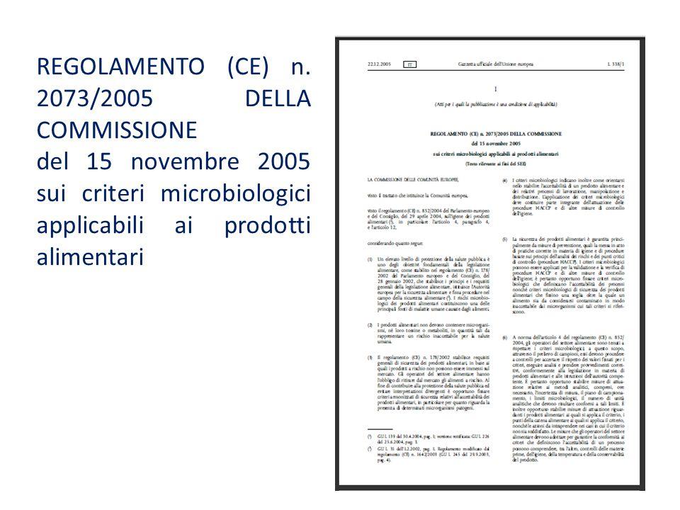 REGOLAMENTO (CE) n. 2073/2005 DELLA COMMISSIONE del 15 novembre 2005 sui criteri microbiologici applicabili ai prodotti alimentari