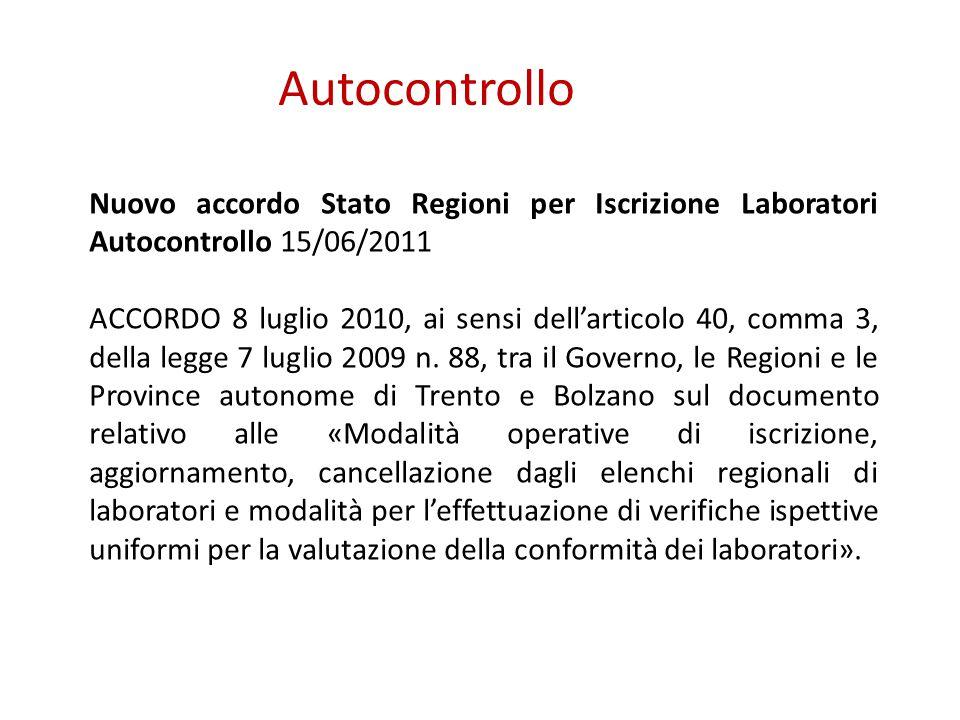 Autocontrollo Nuovo accordo Stato Regioni per Iscrizione Laboratori Autocontrollo 15/06/2011 ACCORDO 8 luglio 2010, ai sensi dell'articolo 40, comma 3