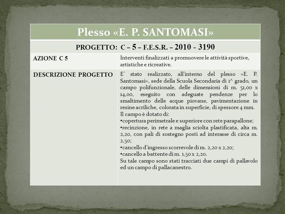 Plesso «E. P. SANTOMASI» PROGETTO: C – 5 – F.E.S.R.
