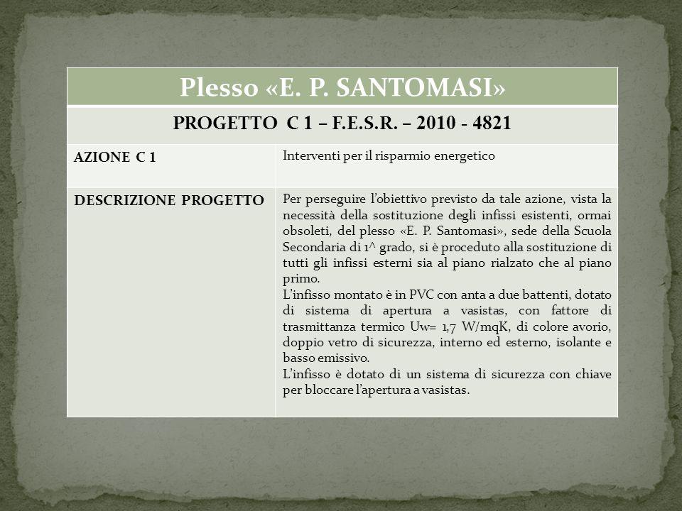 Plesso «E. P. SANTOMASI» PROGETTO C 1 – F.E.S.R.