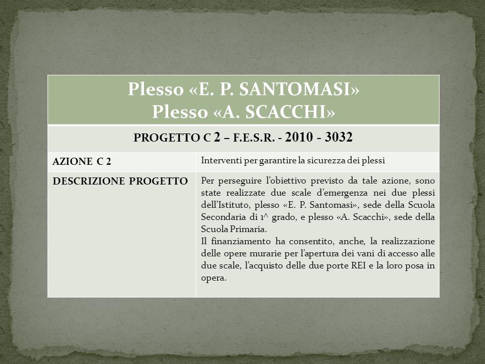 Plesso «E. P. SANTOMASI» Plesso «A. SCACCHI» PROGETTO C 2 – F.E.S.R.
