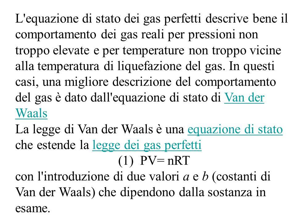 L equazione di stato dei gas perfetti descrive bene il comportamento dei gas reali per pressioni non troppo elevate e per temperature non troppo vicine alla temperatura di liquefazione del gas.