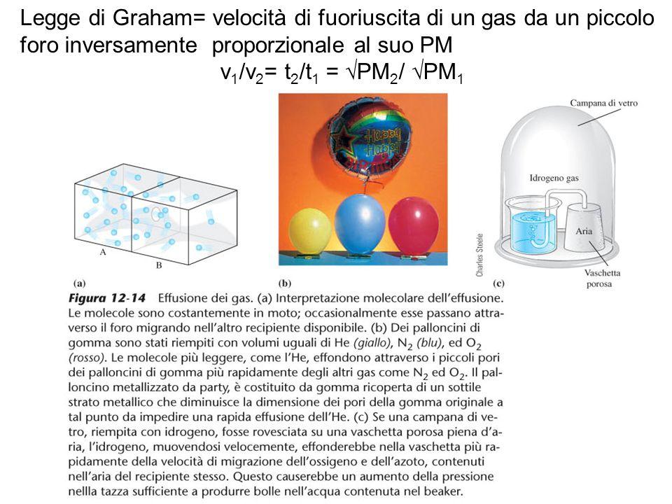 Legge di Graham= velocità di fuoriuscita di un gas da un piccolo foro inversamente proporzionale al suo PM v 1 /v 2 = t 2 /t 1 = √PM 2 / √PM 1