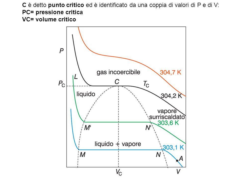 Il modello cinetico molecolare di un gas C è detto punto critico ed è identificato da una coppia di valori di P e di V: PC= pressione critica VC= volume critico