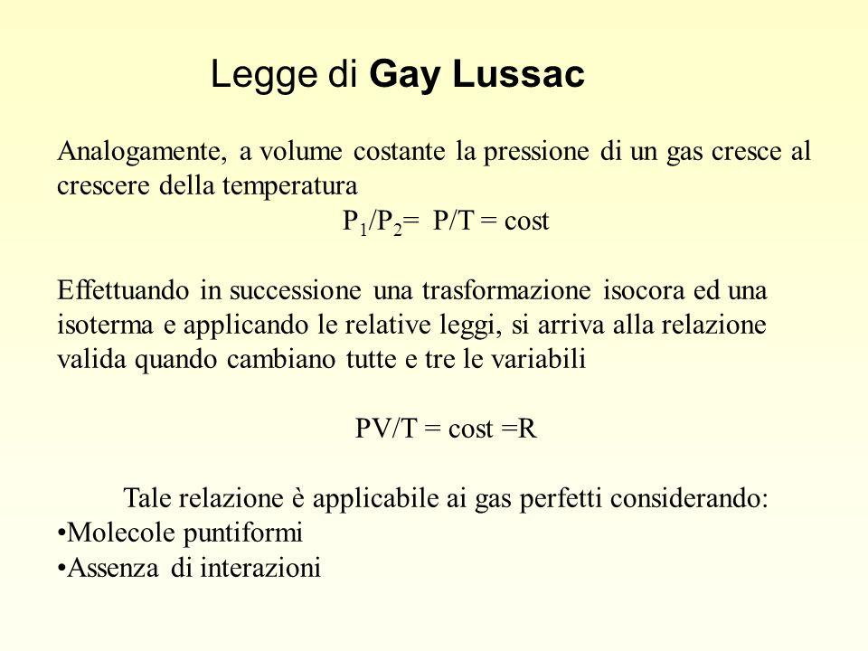 Analogamente, a volume costante la pressione di un gas cresce al crescere della temperatura P 1 /P 2 = P/T = cost Effettuando in successione una trasformazione isocora ed una isoterma e applicando le relative leggi, si arriva alla relazione valida quando cambiano tutte e tre le variabili PV/T = cost =R Tale relazione è applicabile ai gas perfetti considerando: Molecole puntiformi Assenza di interazioni Legge di Gay Lussac