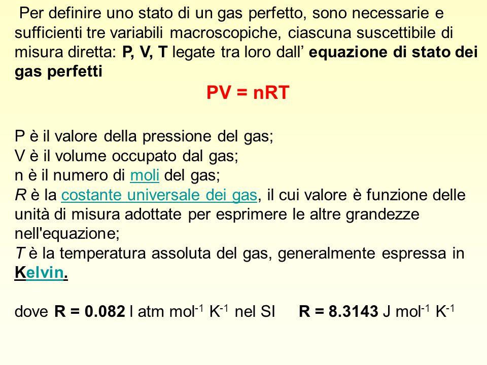 Per definire uno stato di un gas perfetto, sono necessarie e sufficienti tre variabili macroscopiche, ciascuna suscettibile di misura diretta: P, V, T