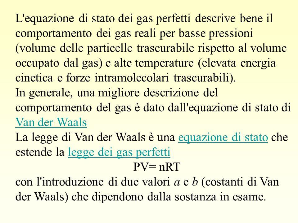 L'equazione di stato dei gas perfetti descrive bene il comportamento dei gas reali per basse pressioni (volume delle particelle trascurabile rispetto