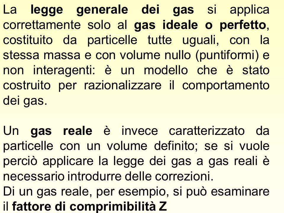 La legge generale dei gas si applica correttamente solo al gas ideale o perfetto, costituito da particelle tutte uguali, con la stessa massa e con vol