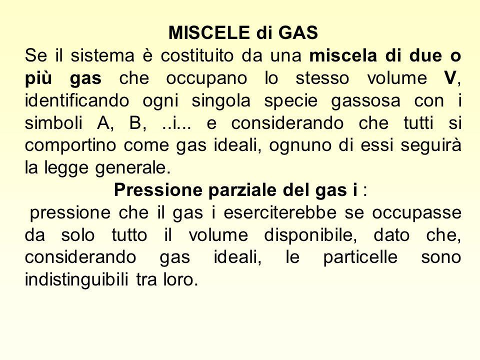 MISCELE di GAS Se il sistema è costituito da una miscela di due o più gas che occupano lo stesso volume V, identificando ogni singola specie gassosa c