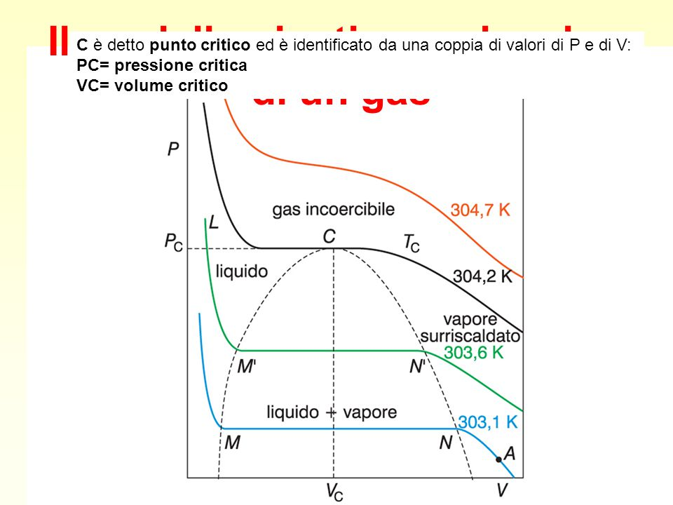 Il modello cinetico molecolare di un gas C è detto punto critico ed è identificato da una coppia di valori di P e di V: PC= pressione critica VC= volu