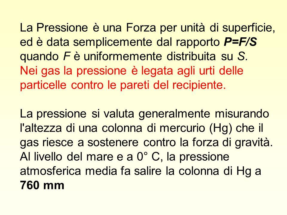 La Pressione è una Forza per unità di superficie, ed è data semplicemente dal rapporto P=F/S quando F è uniformemente distribuita su S. Nei gas la pre