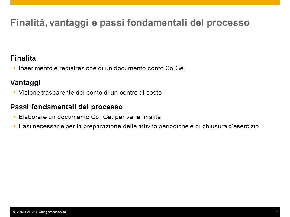 ©2013 SAP AG. All rights reserved.2 Finalità, vantaggi e passi fondamentali del processo Finalità  Inserimento e registrazione di un documento conto