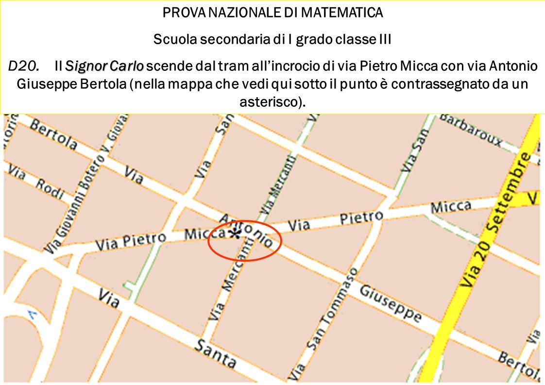 Ischia 2010 Damiano Previtali 18 PROVA NAZIONALE DI MATEMATICA Scuola secondaria di I grado classe III Signor Carlo D20.Il Signor Carlo scende dal tra