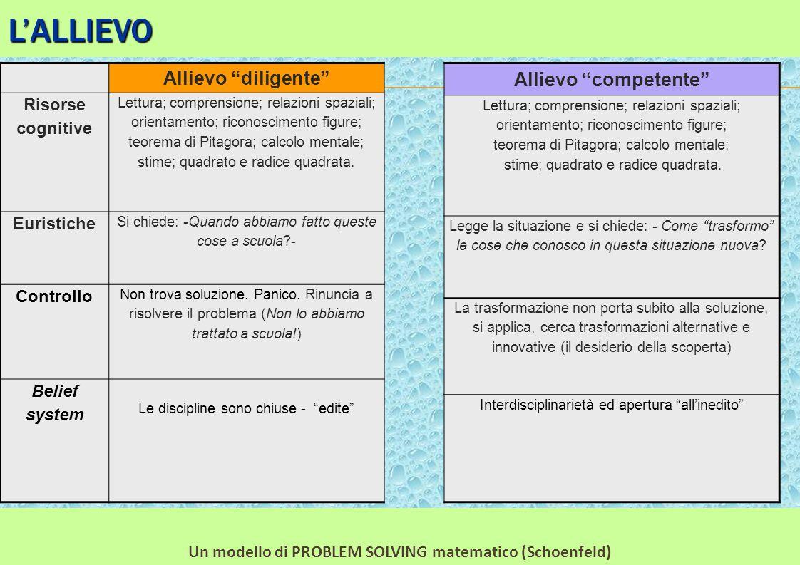 """L'ALLIEVO Allievo """"diligente"""" Risorse cognitive Lettura; comprensione; relazioni spaziali; orientamento; riconoscimento figure; teorema di Pitagora; c"""