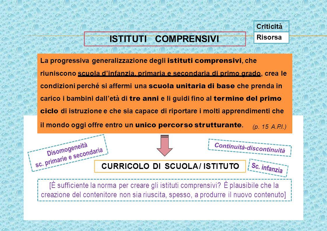 La progressiva generalizzazione degli istituti comprensivi, che riuniscono scuola d'infanzia, primaria e secondaria di primo grado, crea le condizioni