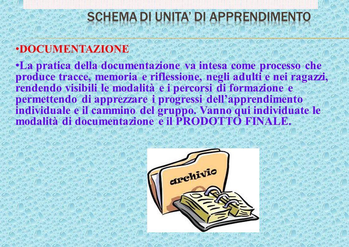 DOCUMENTAZIONE La pratica della documentazione va intesa come processo che produce tracce, memoria e riflessione, negli adulti e nei ragazzi, rendendo