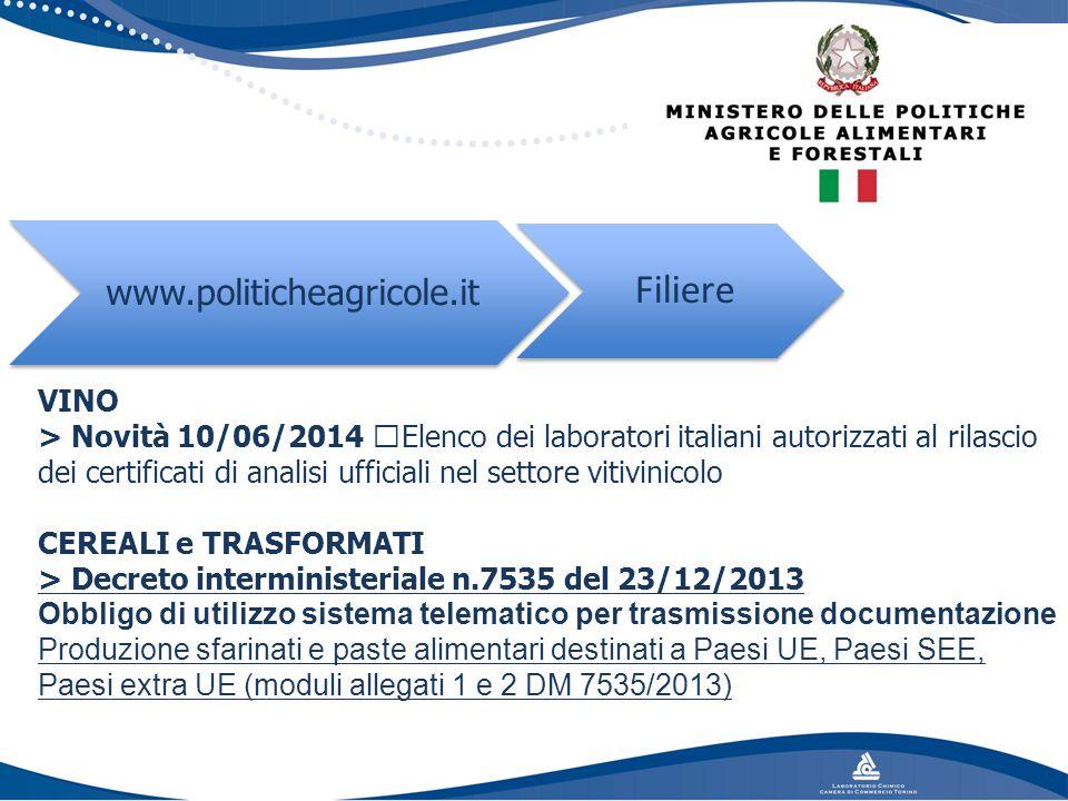VINO > Novità 10/06/2014 Elenco dei laboratori italiani autorizzati al rilascio dei certificati di analisi ufficiali nel settore vitivinicolo CEREALI