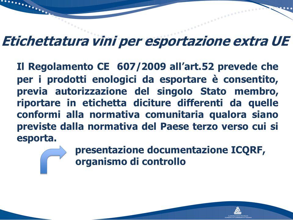 Etichettatura vini per esportazione extra UE Il Regolamento CE 607/2009 all'art.52 prevede che per i prodotti enologici da esportare è consentito, pre