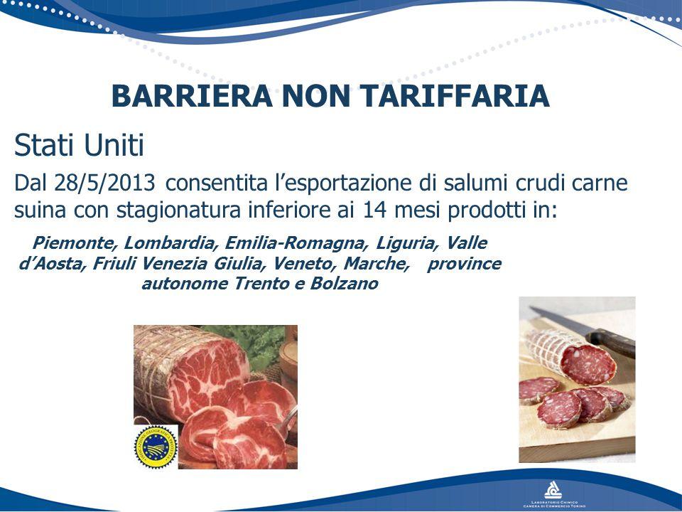 Stati Uniti Dal 28/5/2013 consentita l'esportazione di salumi crudi carne suina con stagionatura inferiore ai 14 mesi prodotti in: BARRIERA NON TARIFF
