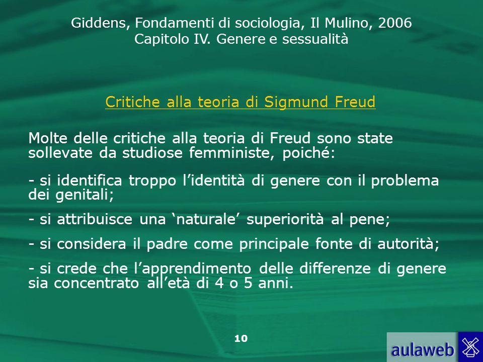 Giddens, Fondamenti di sociologia, Il Mulino, 2006 Capitolo IV. Genere e sessualità 10 Critiche alla teoria di Sigmund Freud Molte delle critiche alla