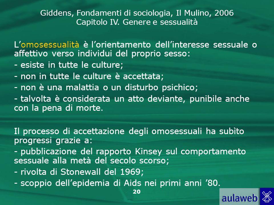 Giddens, Fondamenti di sociologia, Il Mulino, 2006 Capitolo IV. Genere e sessualità 20 L'omosessualità è l'orientamento dell'interesse sessuale o affe