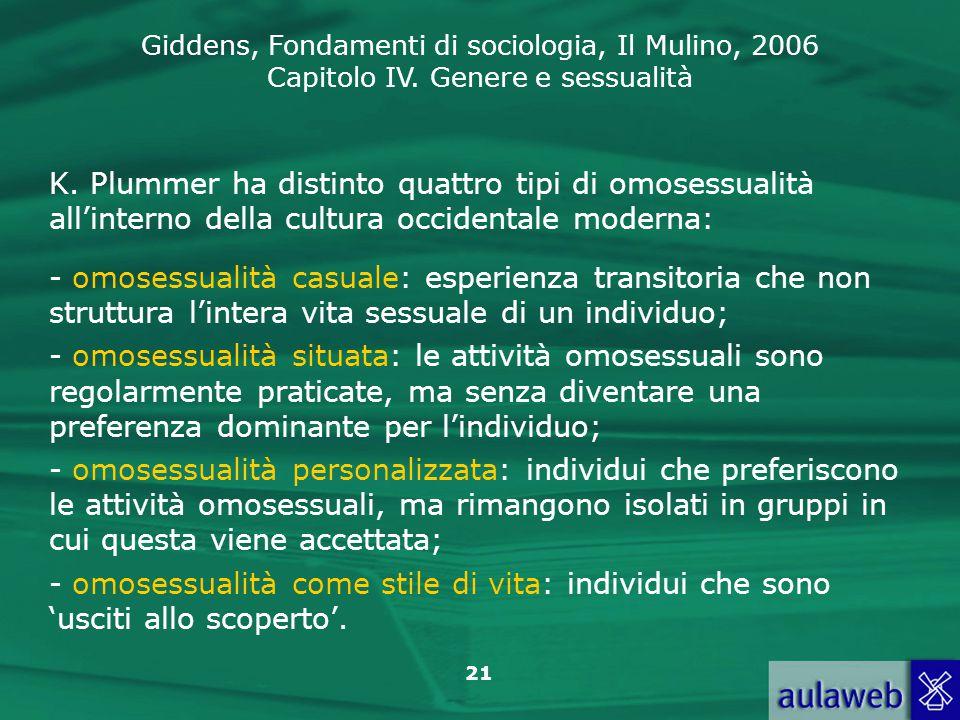 Giddens, Fondamenti di sociologia, Il Mulino, 2006 Capitolo IV. Genere e sessualità 21 K. Plummer ha distinto quattro tipi di omosessualità all'intern
