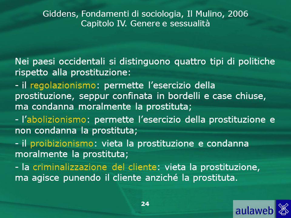 Giddens, Fondamenti di sociologia, Il Mulino, 2006 Capitolo IV. Genere e sessualità 24 Nei paesi occidentali si distinguono quattro tipi di politiche