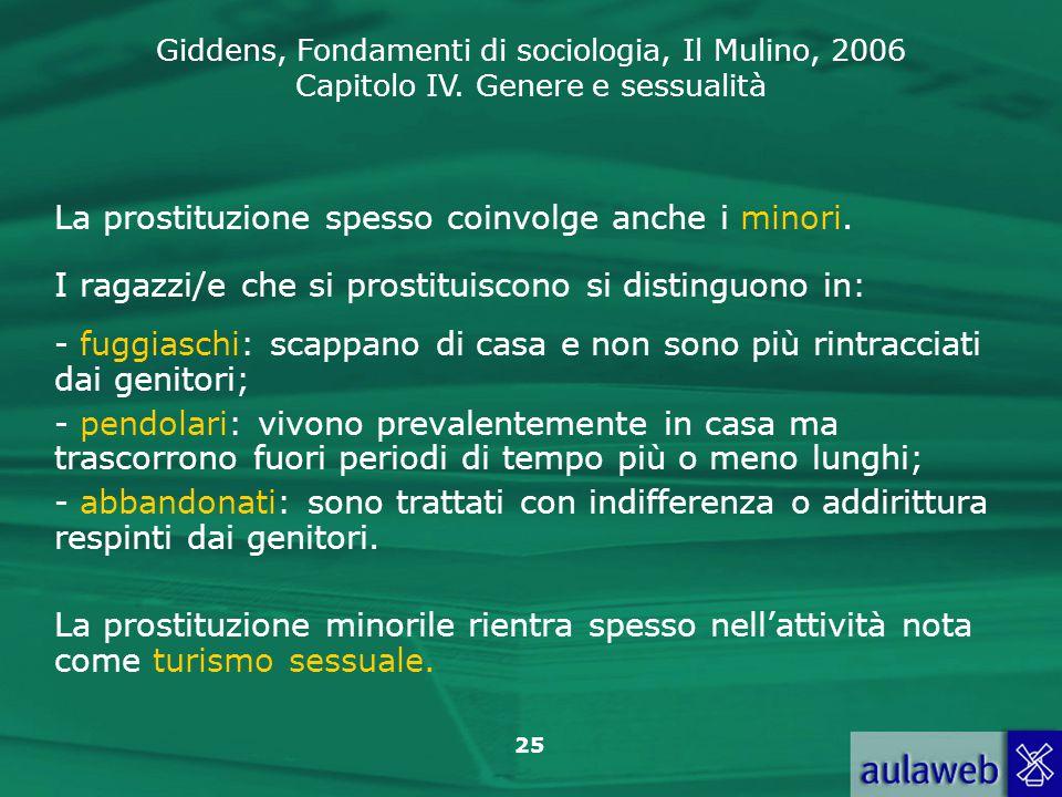 Giddens, Fondamenti di sociologia, Il Mulino, 2006 Capitolo IV. Genere e sessualità 25 La prostituzione spesso coinvolge anche i minori. I ragazzi/e c