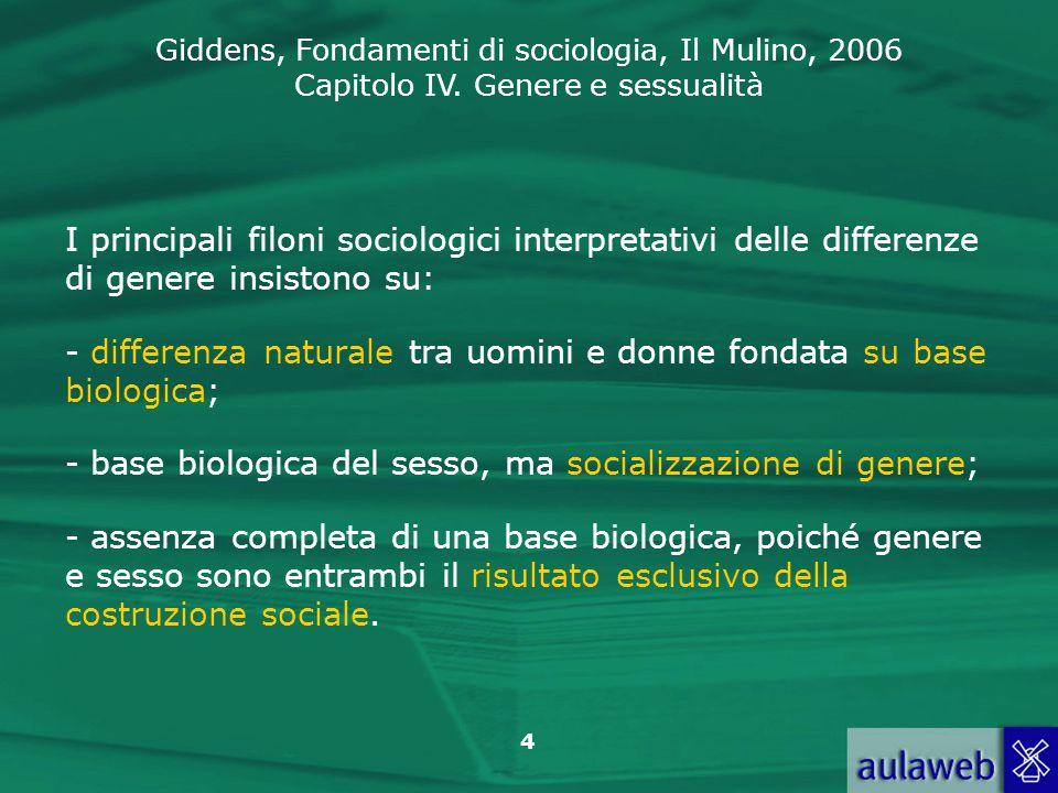 Giddens, Fondamenti di sociologia, Il Mulino, 2006 Capitolo IV. Genere e sessualità 4 I principali filoni sociologici interpretativi delle differenze