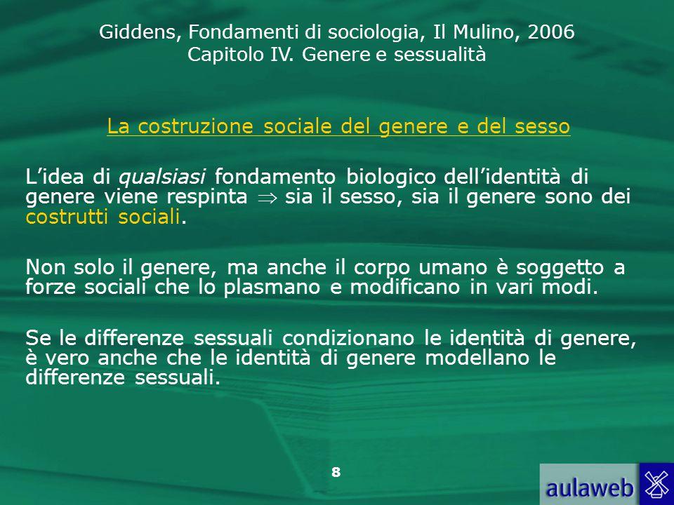 Giddens, Fondamenti di sociologia, Il Mulino, 2006 Capitolo IV. Genere e sessualità 8 La costruzione sociale del genere e del sesso L'idea di qualsias