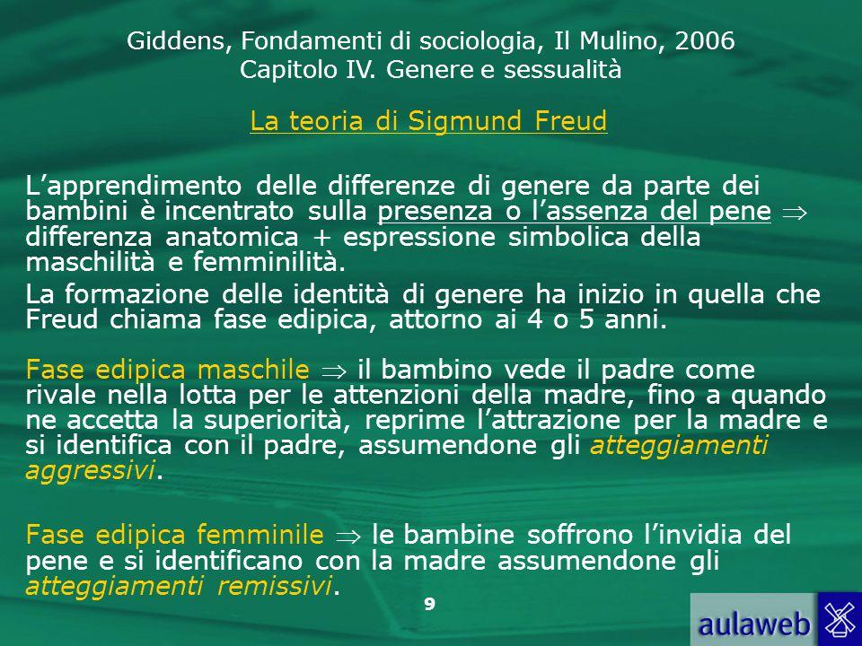 Giddens, Fondamenti di sociologia, Il Mulino, 2006 Capitolo IV. Genere e sessualità 9 La teoria di Sigmund Freud L'apprendimento delle differenze di g