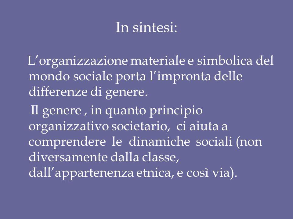 In sintesi: L'organizzazione materiale e simbolica del mondo sociale porta l'impronta delle differenze di genere. Il genere, in quanto principio organ