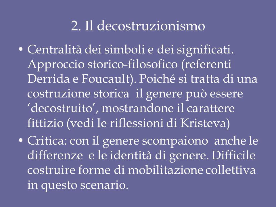 2. Il decostruzionismo Centralità dei simboli e dei significati. Approccio storico-filosofico (referenti Derrida e Foucault). Poiché si tratta di una