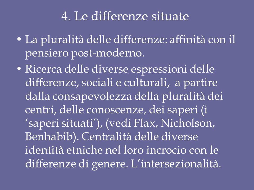 4. Le differenze situate La pluralità delle differenze: affinità con il pensiero post-moderno. Ricerca delle diverse espressioni delle differenze, soc
