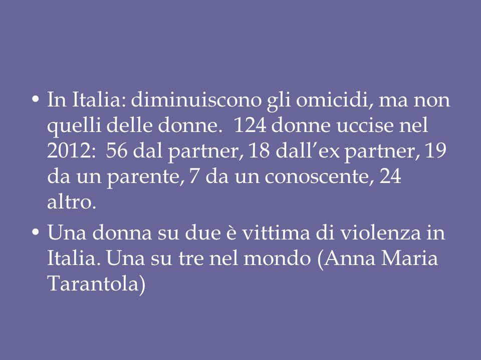 In Italia: diminuiscono gli omicidi, ma non quelli delle donne. 124 donne uccise nel 2012: 56 dal partner, 18 dall'ex partner, 19 da un parente, 7 da