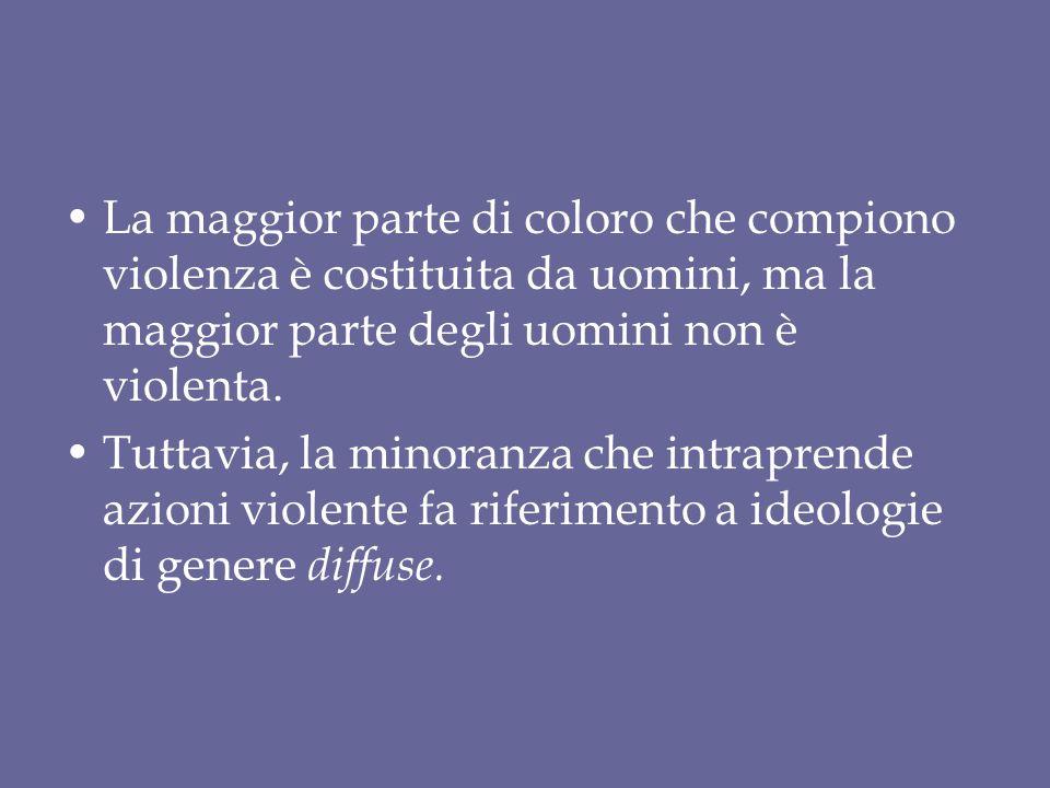 La maggior parte di coloro che compiono violenza è costituita da uomini, ma la maggior parte degli uomini non è violenta. Tuttavia, la minoranza che i