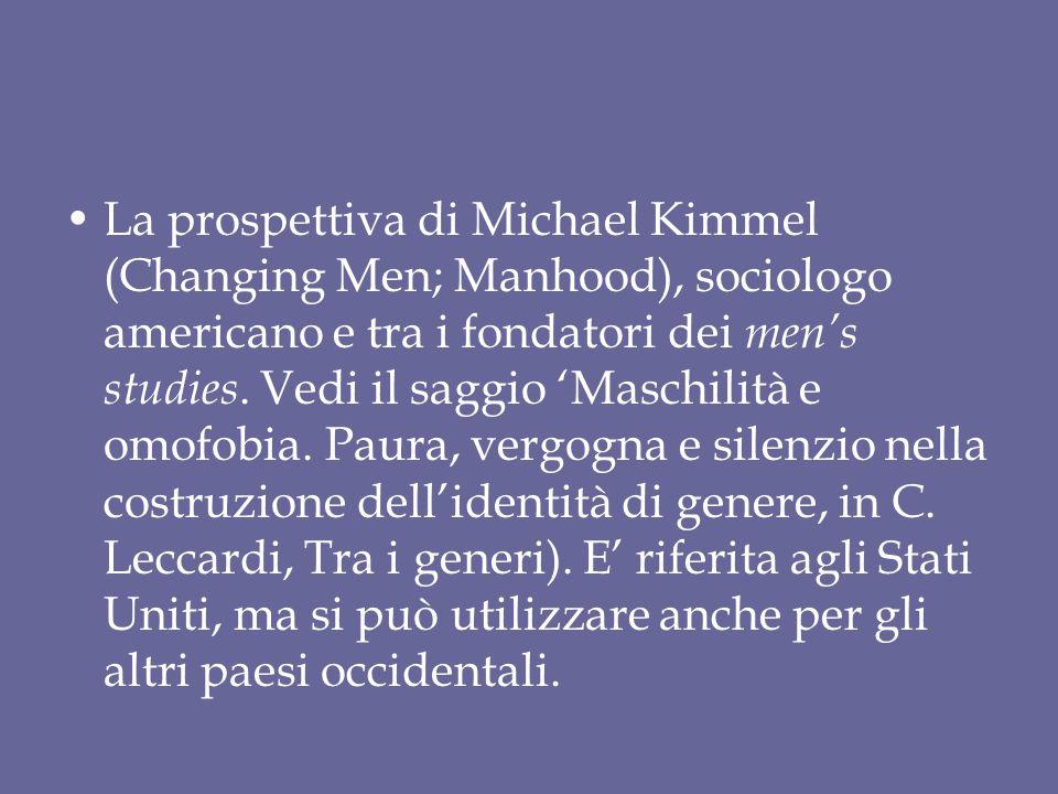 La prospettiva di Michael Kimmel (Changing Men; Manhood), sociologo americano e tra i fondatori dei men's studies. Vedi il saggio 'Maschilità e omofob